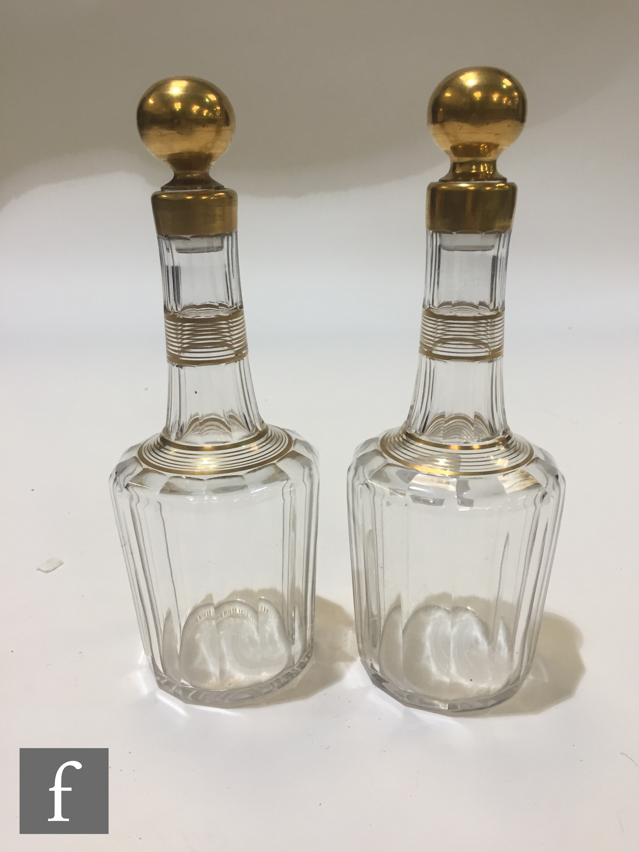 A pair of late 19th Century Baccarat crystal spirit decanters of slice cut shouldered form with a - Image 3 of 6