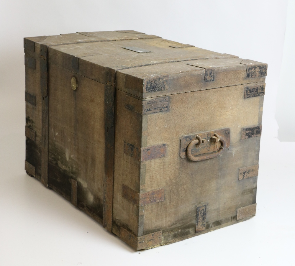 Lot 36 - A large 19th Century steel bound Oak Silver Chest, with two carrying handles,