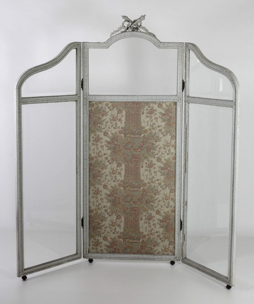 Lot 51 - A late 19th Century painted three part, two fold Draught Screen, in the Adams taste,