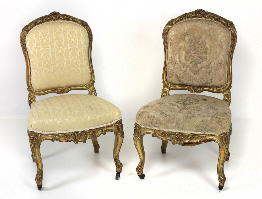 Lot 8 - A good pair of 19th Century French gilt Side Chairs,