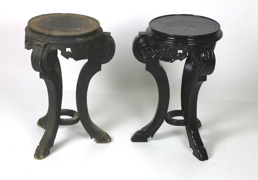 Lot 41 - A pair of ebonised tripod Oriental Jardiniere Stands, of low proportions with hoof type feet,