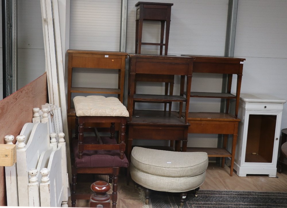 Lot 1 - A large collection of Hotel Furniture, including bedside lockers, tables, chairs, luggage racks etc.