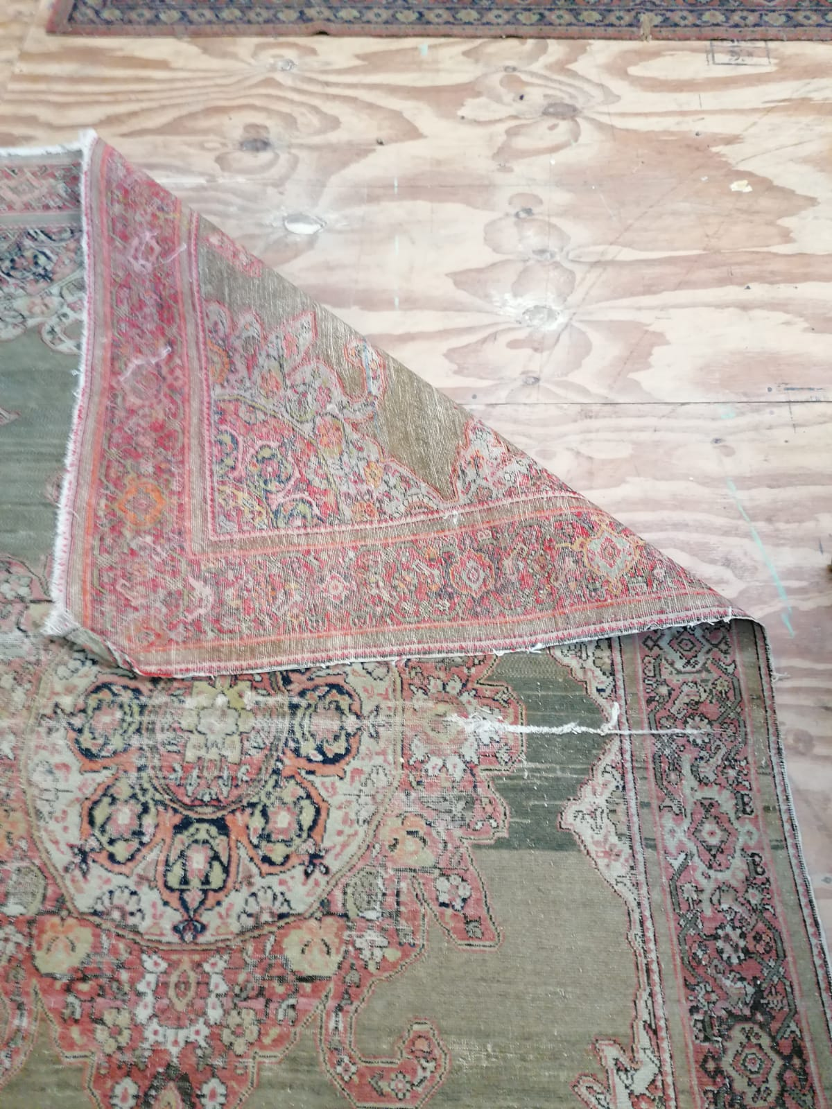 Lot 12 - An old Oriental Runner, with two wide borders and a larger old green ground ditto, worn.