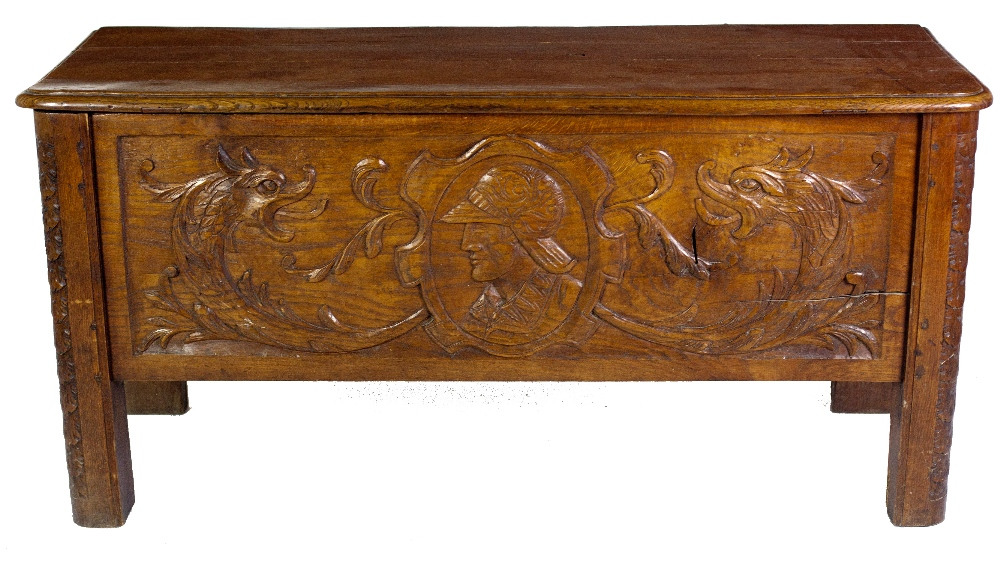 Lot 27 - A late 18th / early 19th Century oak carved Coffer, possibly Spanish,