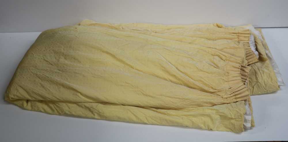 Lot 13 - A collection of good quality large heavy yellow silk Curtains, lined and interlined,