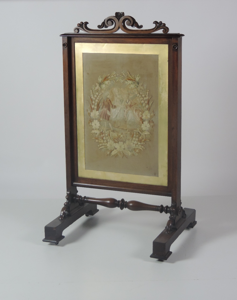 Lot 60 - A good quality heavy William IV period carved rosewood Fire Screen,