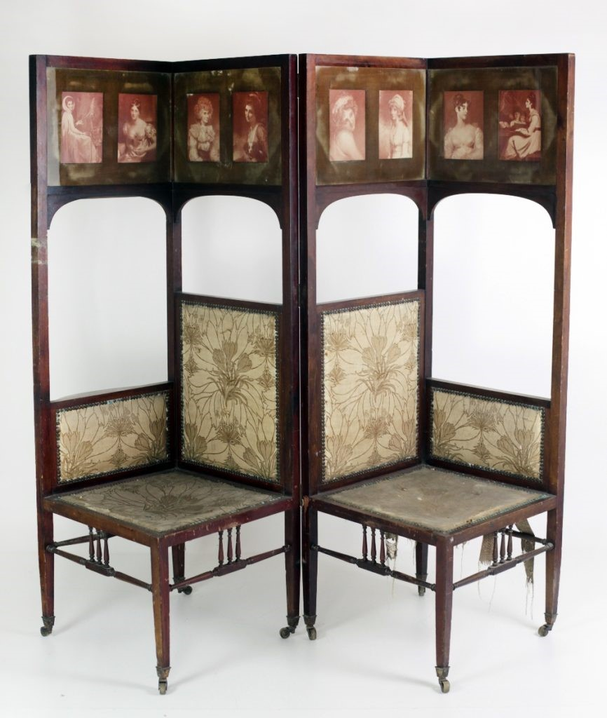 Lot 57 - An Arts & Crafts style two piece Conversation Chair, the top with panelled prints of elegant ladies,