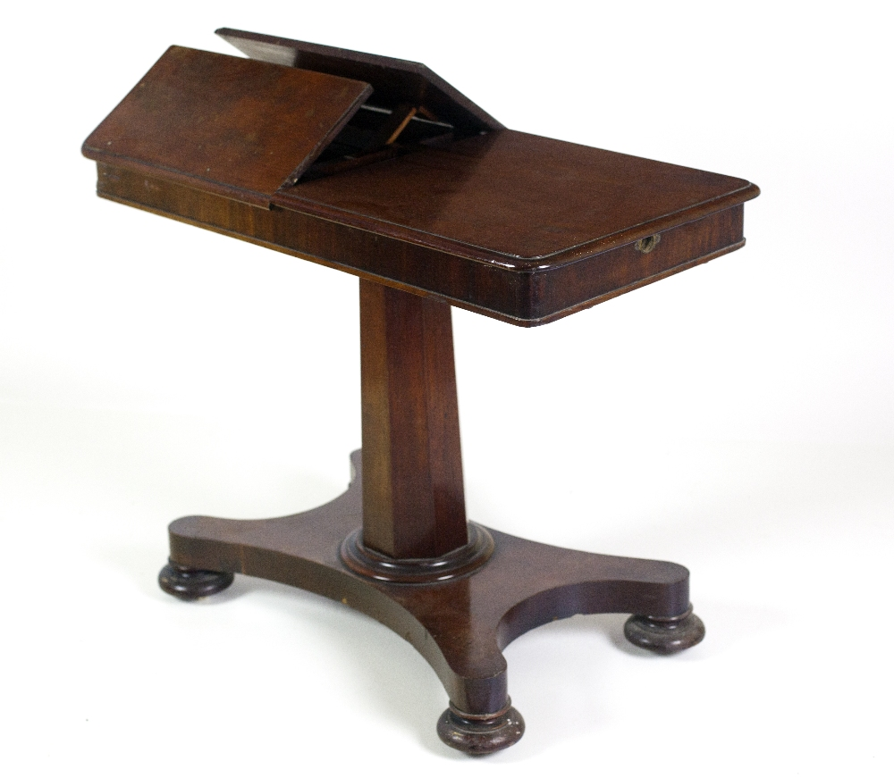 Lot 28 - A William IV mahogany Duet Table, the rectangular top with lift up reading slopes,