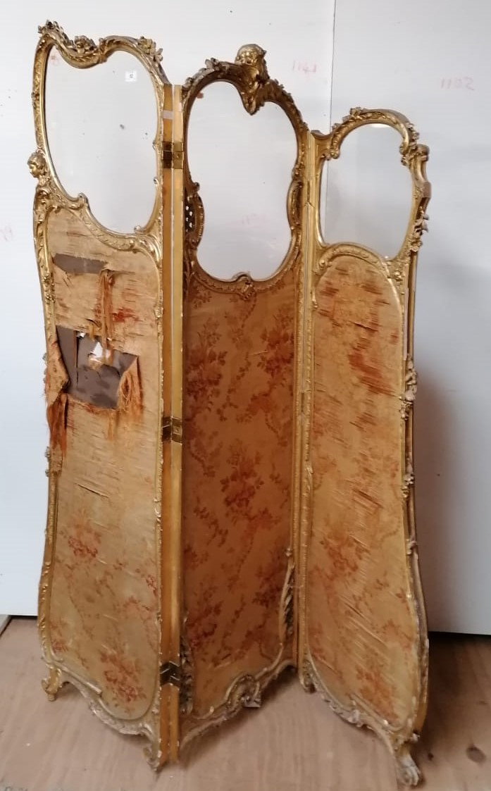 Lot 52 - A fine 19th Century carved giltwood three fold Dressing Screen,