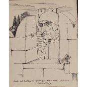 """BRUNO CARUSO (1927-2018) """"Dante al castello di Waiblingen"""" - """"Dante at Waiblingen Castle"""""""