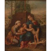 """SCUOLA SICILIANA INIZI SECOLO XIX """"La Madonna col Bambino, San Giovannino e Sant' Anna"""" - SICILIAN S"""