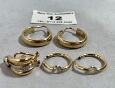 Pair of 9k hoop earrings, pair of 9k small hoop earrings with white stones and single 9k clip on