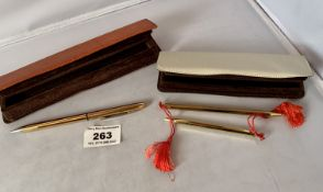 Cased Scripto pen and pencil set and cased Scripto pen