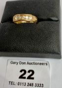 18k gold diamond ring, w: 3.2 grams, size L