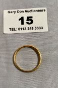 22k gold ring, w: 2.35 grams, size O