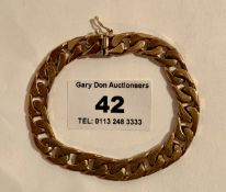 9k gold bracelet, w: 27.67 grams, length 7.5""