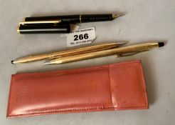 Black fountain pen marked Germany and 2 Cross, USA propelling pencils in case