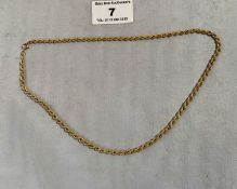9k gold necklace, w: 3.65 grams, length 16""