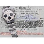 Rare and Fine Rolex Cosmograph Daytona stainless steel gentleman's bracelet watch, ref. 6239,
