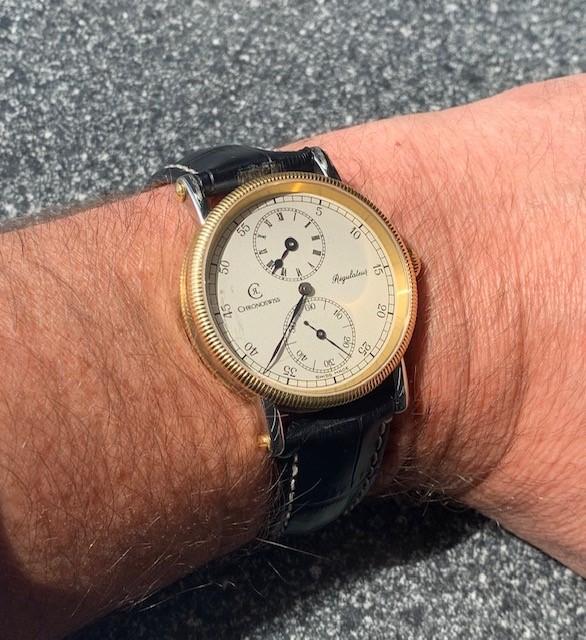 Lot 12 - Chronoswiss Regulateur 18ct and stainless steel gentleman's wristwatch, ref. CH 6322, no. 27xx,