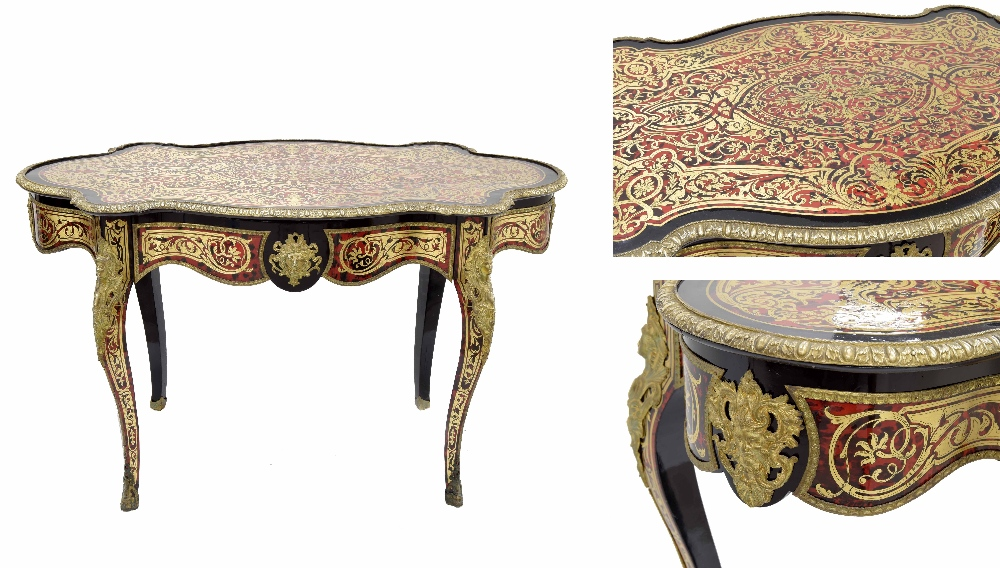 Lot 675 - Fine French Louis XV style Boulle work centre table, the serpentine top with a cast gilt metal