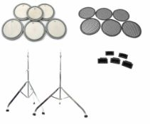 Six Remo drum practice pads, each fitted with Piezo transducers; together with two Premier cymbal