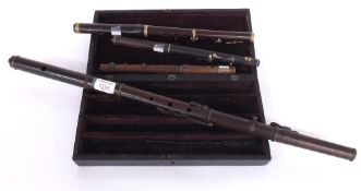 Rosewood flute by and stamped Blackman, Patent Improved, Blackfriars Rd, London, with eight plated