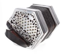 Good Anglo-Chromatic concertina in C/G concert pitch, with fifty metal keys on foliate pierced ends,