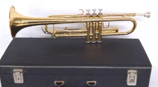 Yamaha YTR2335 gold lacquered trumpet, no. 420048, with mouthpiece, cased