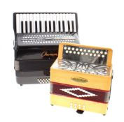 Chanson twenty four button piano accordion, hard case; together with a Lorenzy button Melodeon, hard