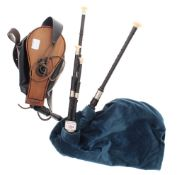 Set of African blackwood Scottish small pipes, with three drones and bellows, hard case