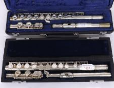 Hernals Japan silver plated flute; also a Buffet 225 silver plated flute with Cooper scale, both