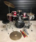 "Pearl Forum Series five piece drum kit, comprising an 18"" kick drum, 14"" floor tom, 12"" rack tom and"