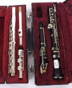 Leslie Sheppard oboe with thumb plate; also a Bach USA 1001 silver plated flute, both cased (2)