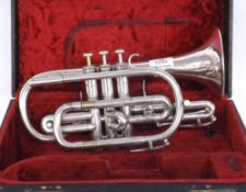 Boosey & Hawkes silver plated Bb Sovereign cornet with Globe logo, case