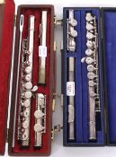 Boosey & Hawkes silver plated Emperor flute, with split E mech; also another Boosey & Hawkes
