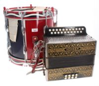 Premier side drum with snare (probably a 97S), the sides painted with a red and royal blue finish,
