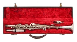 Victory silver plated clarinet, ser. no. 03982, with mouthpiece and lyre music clip, hard case