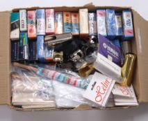 Assorted reeds, ligatures and caps for saxophone and clarinet; also two saxophone mouthpieces,