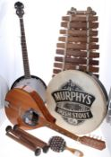 Selection of folk instruments including; Galterio model MA mandola, five string banjo, Murphys