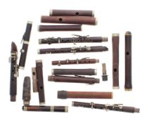 Box of assorted flute, fife and piccolo joints, some stamped