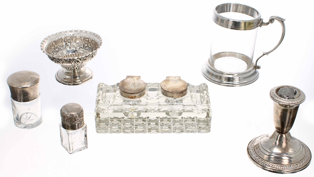 Lot 441 - Assorted silver and silver mounted glass, including a Victorian floral embossed dish, cut glass