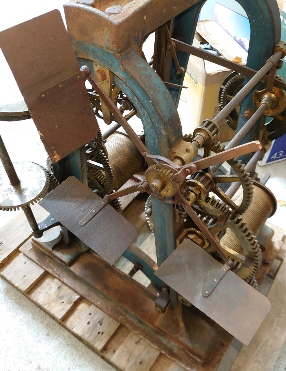 Good Large cast iron two train turret clock movement by Thos Cooke (b.1807 d.1868), inscribed on the - Image 6 of 7