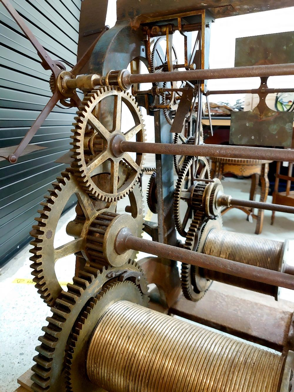 Good Large cast iron two train turret clock movement by Thos Cooke (b.1807 d.1868), inscribed on the - Image 4 of 7