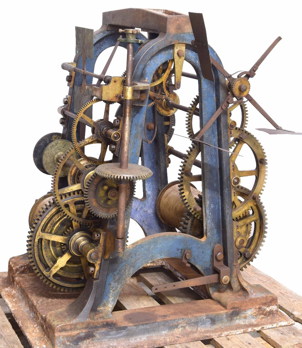 Good Large cast iron two train turret clock movement by Thos Cooke (b.1807 d.1868), inscribed on the - Image 5 of 7