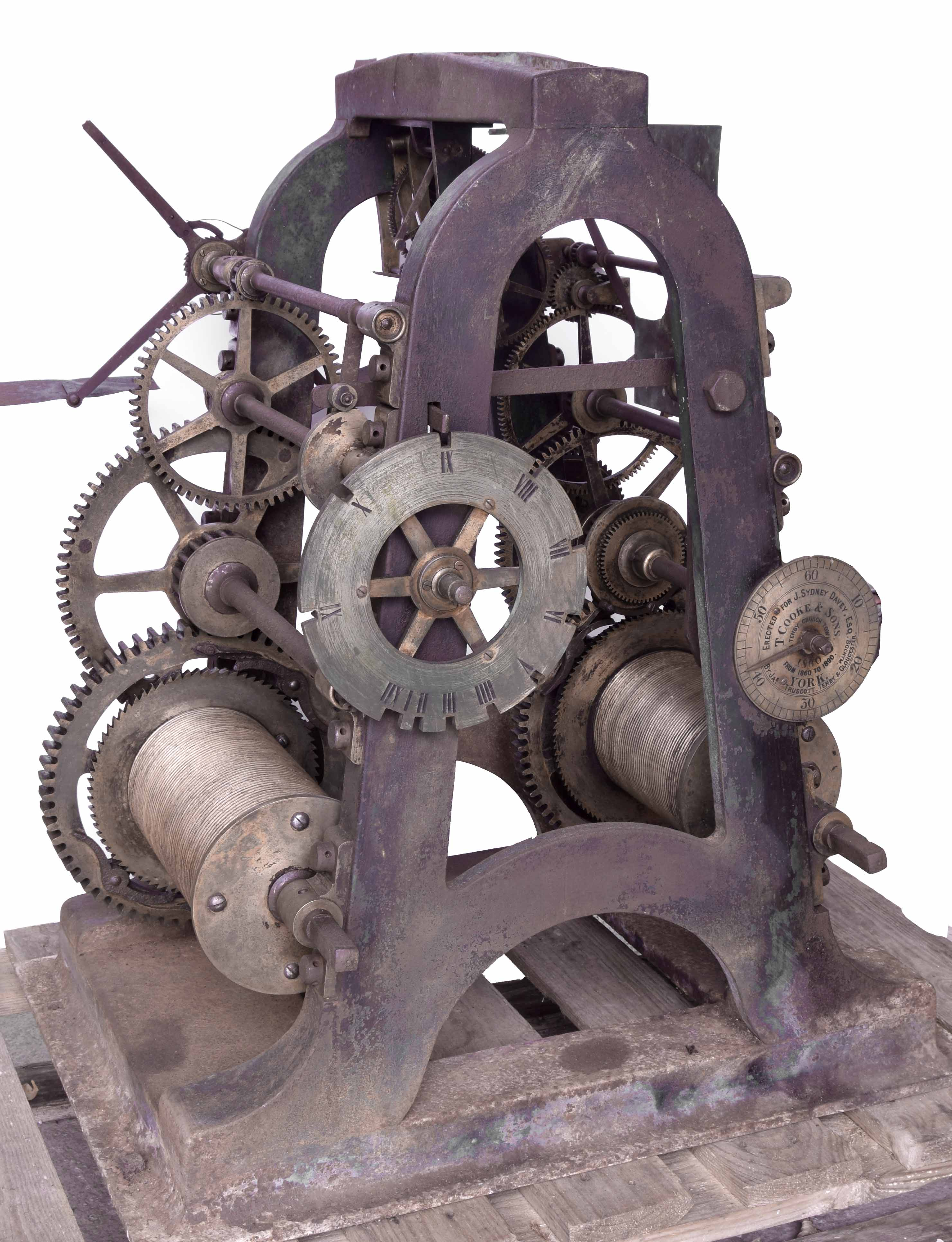 Good Large cast iron two train turret clock movement by Thos Cooke (b.1807 d.1868), inscribed on the