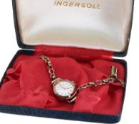 Ingersoll 9ct lady's bracelet watch, signed silvered dial, 17 jewels, 9.5gm, 15mm - ** with the