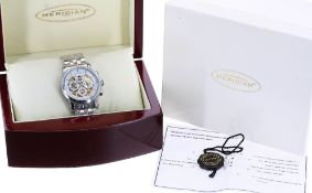 Meridian automatic stainless steel gentleman's bracelet watch, circular white dial with skeleton