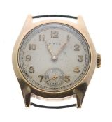 Swiss 9ct mid-size fixed lug wristwatch, Chester 1942, circular silvered dial signed Hirco with gilt