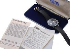 Smith Astral chronograph stainless steel gentleman's wristwatch, reverse panda circular black dial